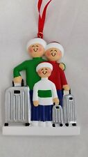 Personalized Family Three 3 Traveling Christmas Tree Ornament Holiday Gift
