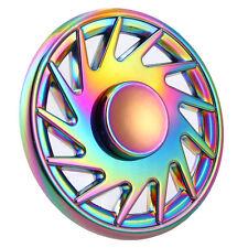 Rainbow Wheel Spin Metal Round Flower Tri Spinner Fidget Hand Toy Spinner Amuse