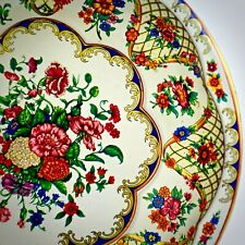 Daher Vintage Tin Tray Floral Decorated Ware Round Metal England Pink Green Blue