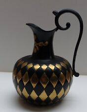 Black & Gold Pitcher Jug Vase - Beautiful Vintage Handmade Metalware in India