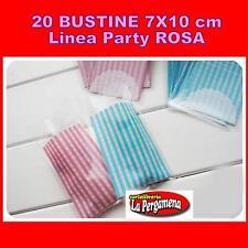 20 bustine PARTY plastica trasparente con strip adesiva f.to 7X13 feste ROSA