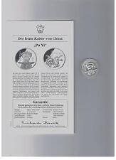 "China 1994,Silbergedenkmedaille:Der letzte Kaiser v. China ""Pu Yi"",PP in Kapsel"
