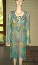 """WANT"" Turquoise Paisley Embellished Sheer Cover up~Size 14~Coral & Ivory Beads~"