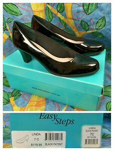 Easy Steps 7 C Linda Black Patent Shoes Heels Court Leather New in Box RRP $119