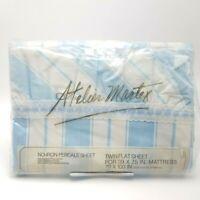 Blue Parasol Stripe Twin Flat Sheet Atelier Martex Percale Westpoint Pepperell