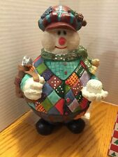 Snowman Figurine Golf Plaid Sweater Vest Clubs Resin Christmas Holiday Novelty