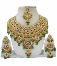 Gold Plated Jodha's Kundan Zerconic Bollywood Necklace Set Jewelry ES2