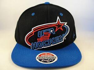 USA Hockey Snapback Hat Cap Zephyr Xray Black Blue