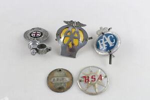 5 x Assorted Vintage Automobilia Car Grille Badges Inc AA, RAC, BSA, Enamel Etc