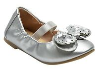 NWT - Cat & Jack Toddler Girls Silver Carrie Cinched Bow Mary Jane Ballet Flats