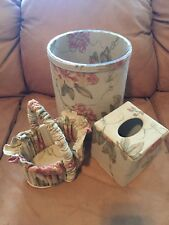 Decorator Bath Accessories 3 Pc Floral Fabric Basket Tissue Cover Trash Can New