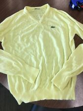 Vtg Izod Lacoste Yellow V-Neck Sweater Men's M C13