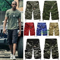 Mens Military Combat Army Camo Cargo Shorts Pants Tactical Casual Work Trousers