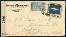 Mayfairstamps Mexico 1940s Hote Geneva Censored to Berkeley CA WWII Cover wwp799