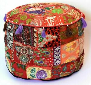 """22"""" Small Multi Vintage Footstool Pouf Cover Patchwork Seat Pouff Ottoman Cover"""