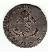 French Colonial 1740 9 Billon Double sol, Rennes mint, Breton 508