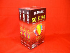 3 Pack EMTEC SQ E180 Blank VHS Video Tapes GERMAN MADE TAPE -  NEW & UNOPENED