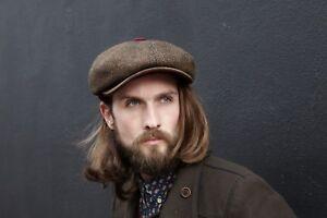 Charlie Newspaper Boy Newsboy Bakerboy Tweed Wool Leather Peaky Blinders Cap