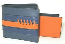 Coach F76947 3 In 1 Mens Wallet Sporty Baseball Stitch Midnight Navy Blue Orange