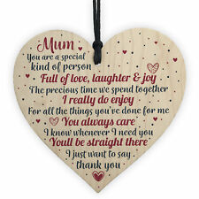 Thank You Mum Gifts Wooden Heart for Her Mummy Daughter Birthday Christmas
