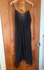 FLAPPER 1920S style beaded cocktail dress hankie hem LBD black 18-20 worn once