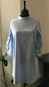 BNWT Zara Light Blue Shift Dress with Ruffled Sleeves - Size L