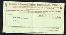 Issued 1938 Australian Government Stock Certificate. 1939-41 C5