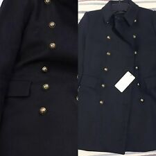 ZARA Short Military Style Coat with Gold Buttons Medium M Jacket Navy Blue Wool