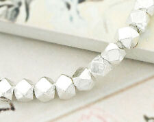 Karen Hill Tribe Silver 10 Faceted Nugget Beads 4mm.