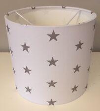 White With Grey Stars Lampshade Handmade In 25cm Drum, Nursery, Bedroom