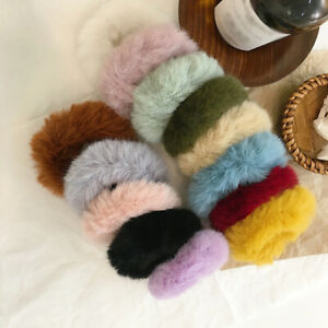 Women Casual Candy Color Faux Rabbit Fur Elastic Scrunchie Plush Hair Rope Rings