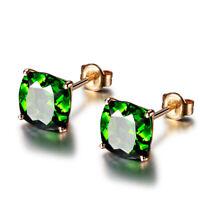 Elegant Princess Cut Emerald Stud Earrings Chic 18k Rose Gold Wedding Jewelry