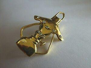 Brosche Öllampe gold farben Glitzersteinchen 5,3 cm Fashion