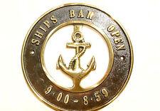 "solid BRASS SIGN Ships Bar Open 6.1/2 "" ship Anchor funny decor screwsl heavy B"
