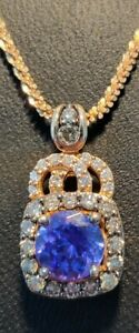 Opulent Luscious Le Vian 14K Rose Gold Tanzanite And Diamond Pendant Necklace