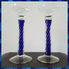 Pair of Villeroy & Boch Glass Tosca Blue Air Twist Candlesticks Candle Holders