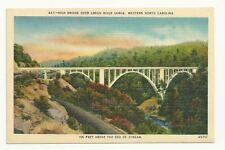 GREEN RIVER GORGE NC High Bridge Vintage Linen Postcard