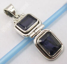 .925 Sterling Silver Real IOLITE ARTISAN FACETTED STONE New HINGE Pendant 1.3""