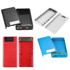 QC 3.0 Dual USB+Type C PD 8x 18650 Battery Power Bank DIY Box LED Light Charger