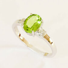 NATURAL PERIDOT RING REAL DIAMONDS 9K 375 WHITE GOLD SIZE N COMES IN A BOX NEW