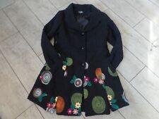 Black 12  M Caroline Morgan heavy winter coat JACKET floral & lace EMBROIDERY