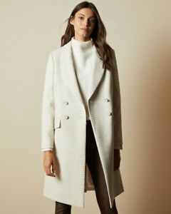 TED BAKER Check Coat Sz 5 (16) BNWT $789 – SOPHILI Cream Double Breasted