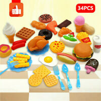 34PCS Kids Toy Pretend Role Sets Play Kitchen Pizza Food Cutting Children Gifts