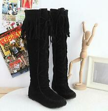 Ladies Tassel Moccasin Knee High Riding Boots Pull On Flat Heel Suede Fabric New