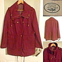 Laura Ashley Parka Jacket Sze 14 Wool Blend Burgundy Zip Coat Toggle Drawstring