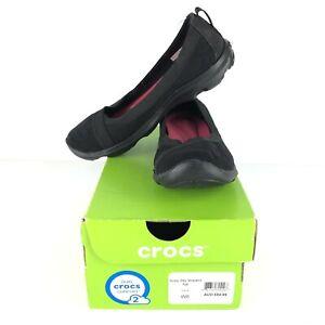 Crocs Women's Size 6 Black Leopard Flats Shoes Comfort New In Box RRP $85
