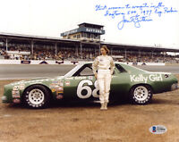 JANET GUTHRIE SIGNED 8x10 PHOTO HUGE INSCRIPTION FIRST FEMALE RACING BECKETT BAS