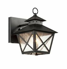 40170 BK Outdoor Wall Light with Seeded Glass Shade, Black Finished