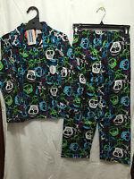 BNWT Boys Sz 8 Black Skulls Print Long Style Flannel Winter Style PJ Pyjamas