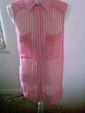 Pure Silk Sheer Red/White Stripes Zoa Sleeveless Blouse szL(38). Unusual.